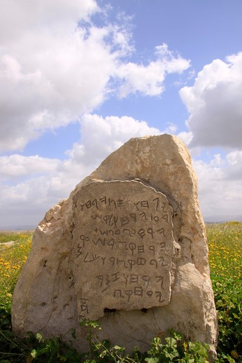 Stock Photo: 4023-331 Inscription on a limestone tablet, Gezer Calendar, Southern Coastal Plain, Israel