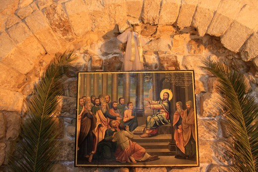 Painting in a church, Nazareth, Lower Galilee, Israel : Stock Photo