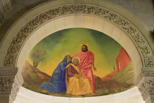 Mural on the wall of a church, Church Of St. Joseph, Nazareth, Lower Galilee, Israel : Stock Photo