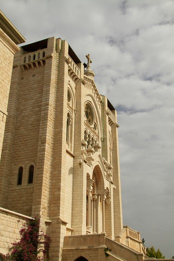 Stock Photo: 4023-416 Low angle view of a church, Salesian Church Of Jesus The Adolescent, Nazareth, Lower Galilee, Israel