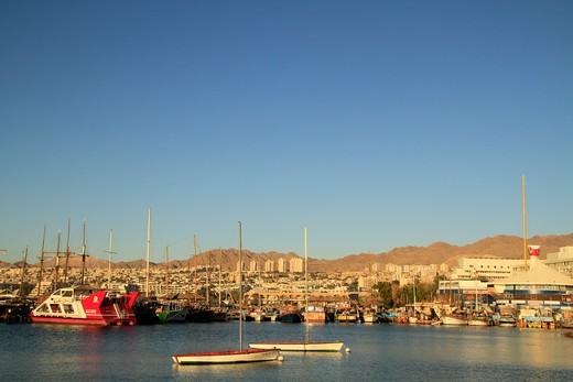 Stock Photo: 4023-429 Boats at a harbor, Eilat, Israel
