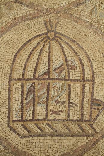 Stock Photo: 4023-451 Mosaic on a wall, Hurvat Maon Ancient Synagogue, Negev, Israel