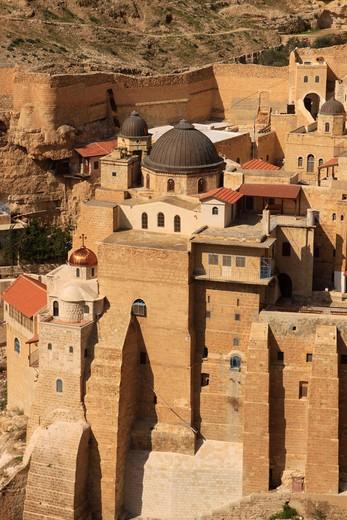 Greek Orthodox Mar Saba Monastery on the slope of Wadi Kidron, Judean Desert, Israel : Stock Photo