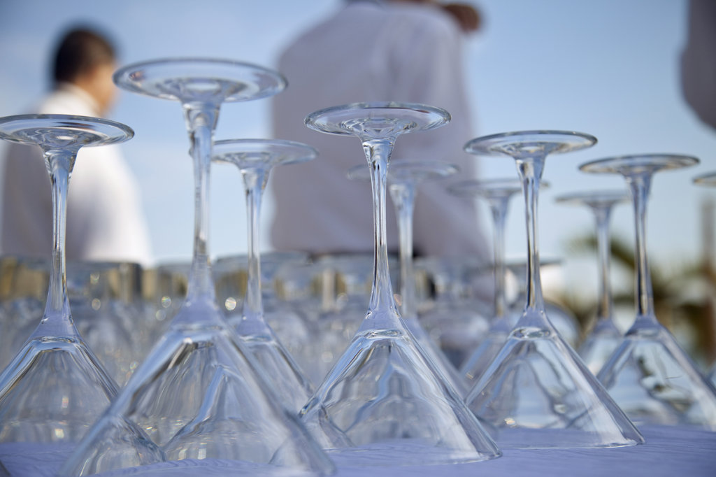 Close-up of crystal glasses for wedding party, Chi-Chi's Beach Club, San Jose Del Cabo, Baja California, Mexico : Stock Photo