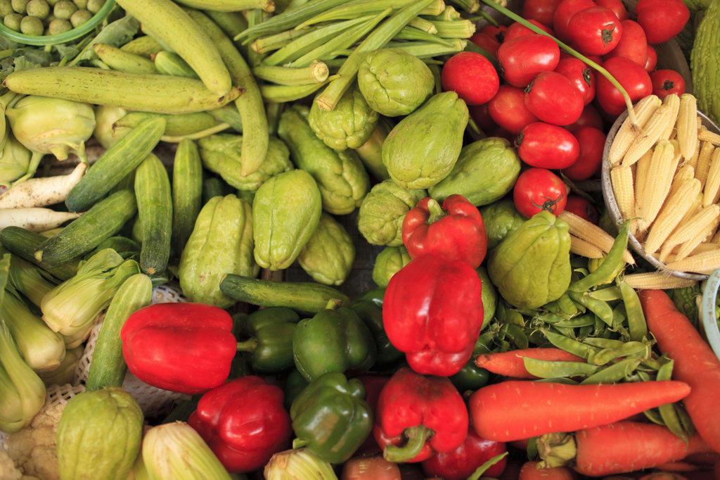 Vegetables in a market stall, Old Quarter, Hanoi, Vietnam : Stock Photo