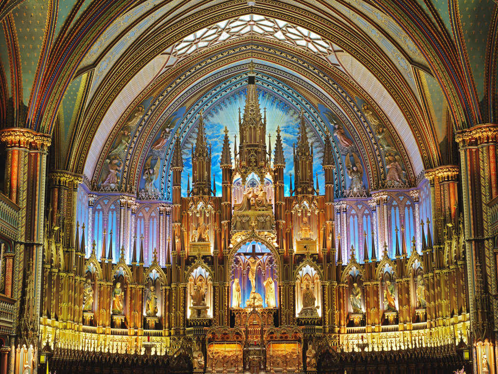 Interiors of a cathedral, Notre Dame Cathedral, Montreal, Quebec, Canada : Stock Photo