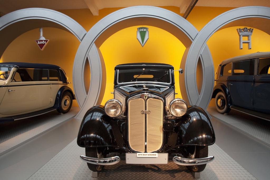 Vintage cars in a museum, August Horch Museum, Zwickau, Saxony, Germany : Stock Photo