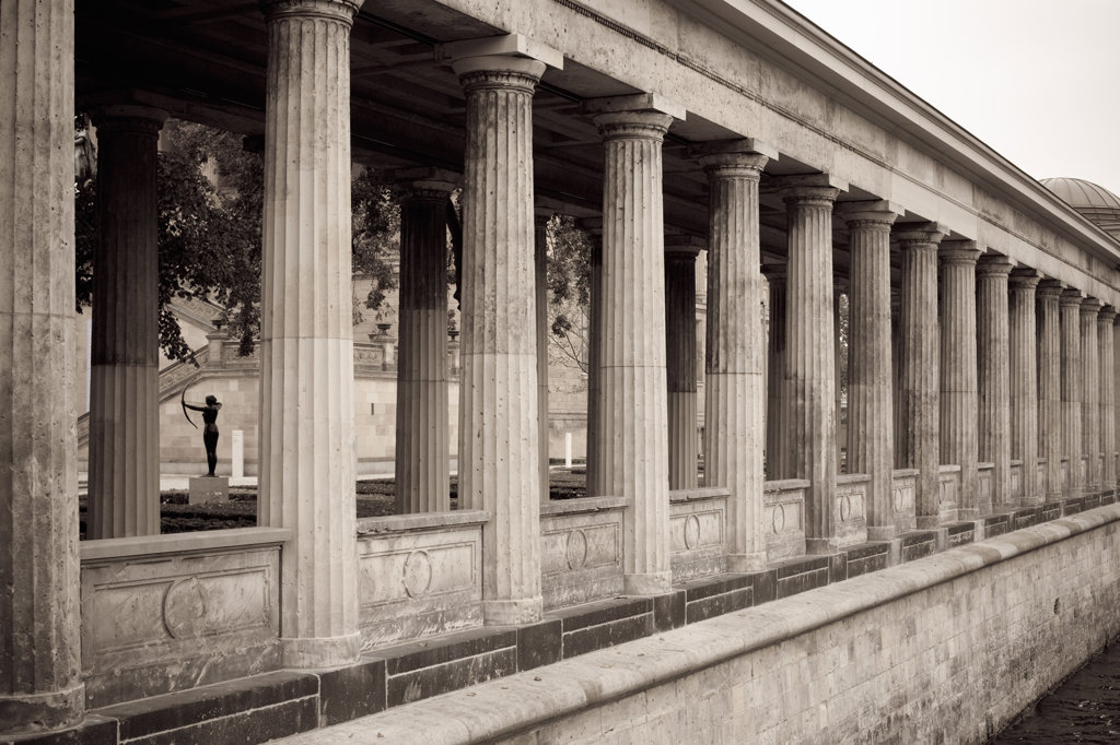 Colonnade of a museum, Alte Nationalgalerie, Museum Island, Berlin, Germany : Stock Photo