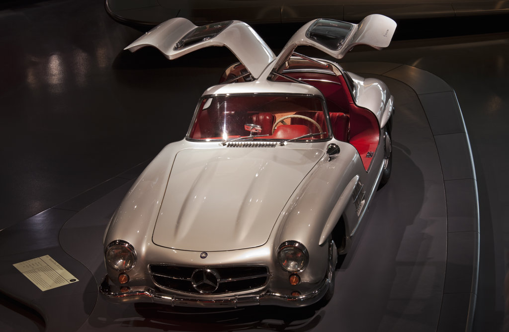 Mercedes-Benz 300 SL Coupe in a museum, Mercedes-Benz Museum, Stuttgart, Baden-Wurttemberg, Germany : Stock Photo