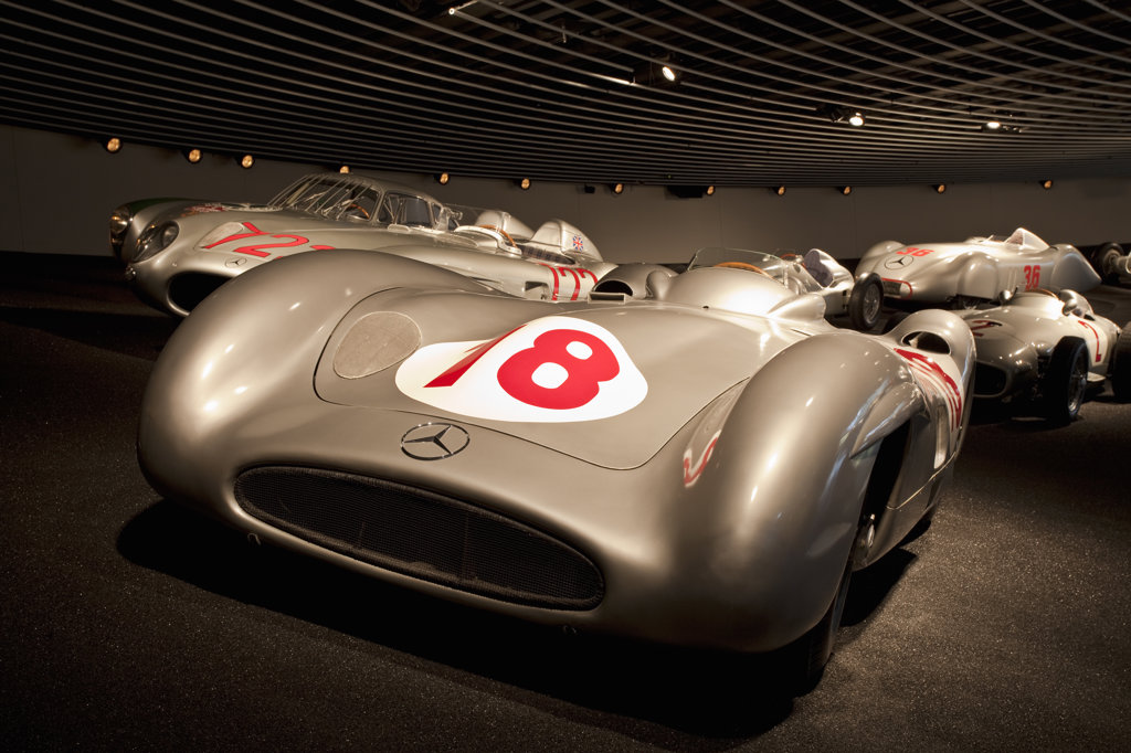 Collection of Silver Arrows in a museum, Mercedes-Benz Museum, Stuttgart, Baden-Wurttemberg, Germany : Stock Photo