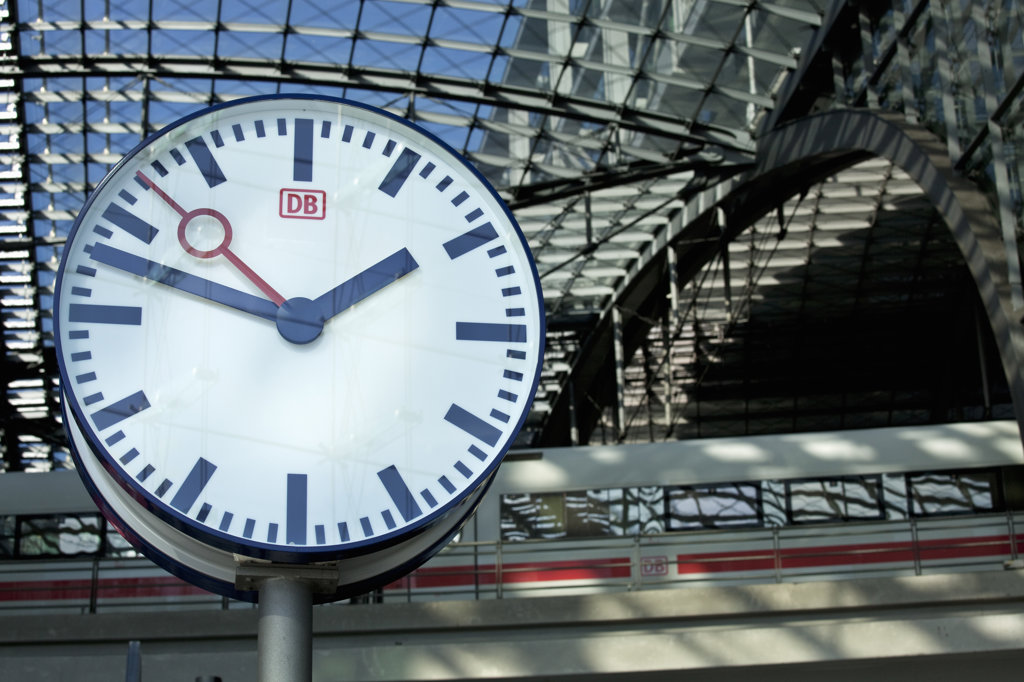 Clock at a railroad station, Berlin Hauptbahnhof, Berlin, Germany : Stock Photo