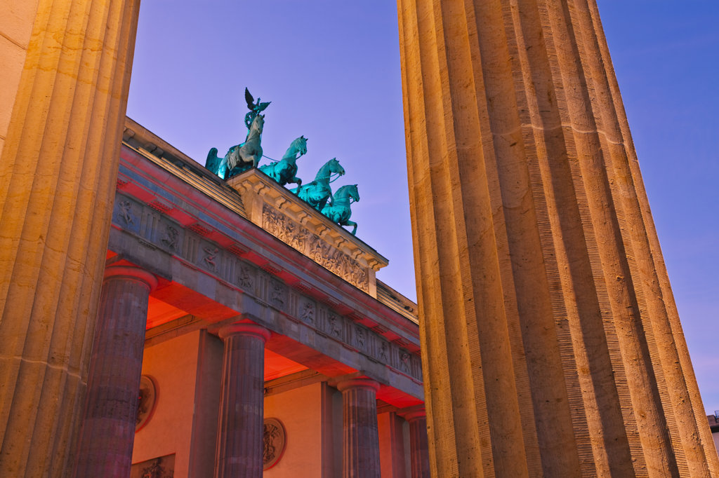 City gate lit up at dusk, Brandenburg Gate, Berlin, Germany : Stock Photo