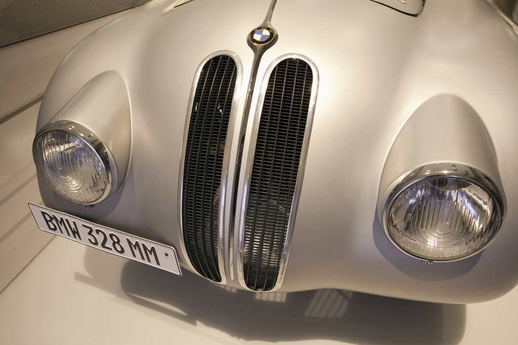 BMW 328 Mille Miglia in a museum, BMW Museum, Munich, Bavaria, Germany : Stock Photo
