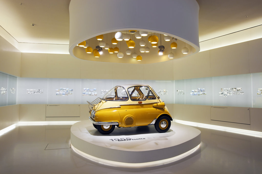 BMW Isetta on display in a museum, BMW Museum, Munich, Bavaria, Germany : Stock Photo