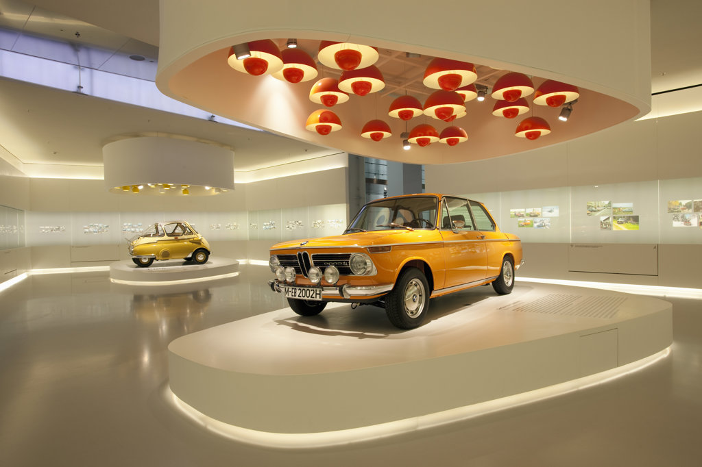 Stock Photo: 4025-206 BMW 2002 TI on display in a museum, BMW Museum, Munich, Bavaria, Germany