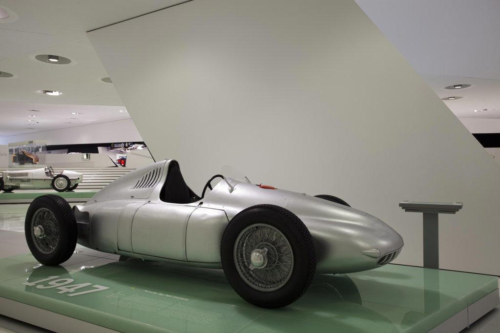 Porsche 360 Cisitalia on display in a museum, Porsche Museum, Stuttgart, Baden-Wurttemberg, Germany : Stock Photo