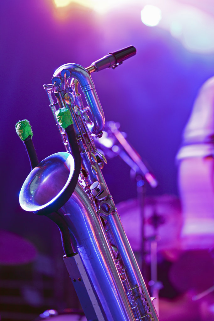 Canada, Quebec, Montreal, Montreal Jazz Festival, Close up of saxophone on stage : Stock Photo