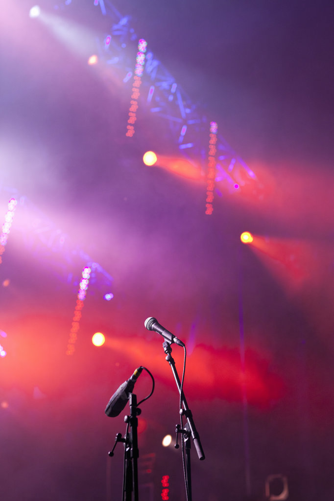 Stock Photo: 4025-240 Canada, Quebec, Montreal, Montreal Jazz Festival, Close up of microphones in stage lights
