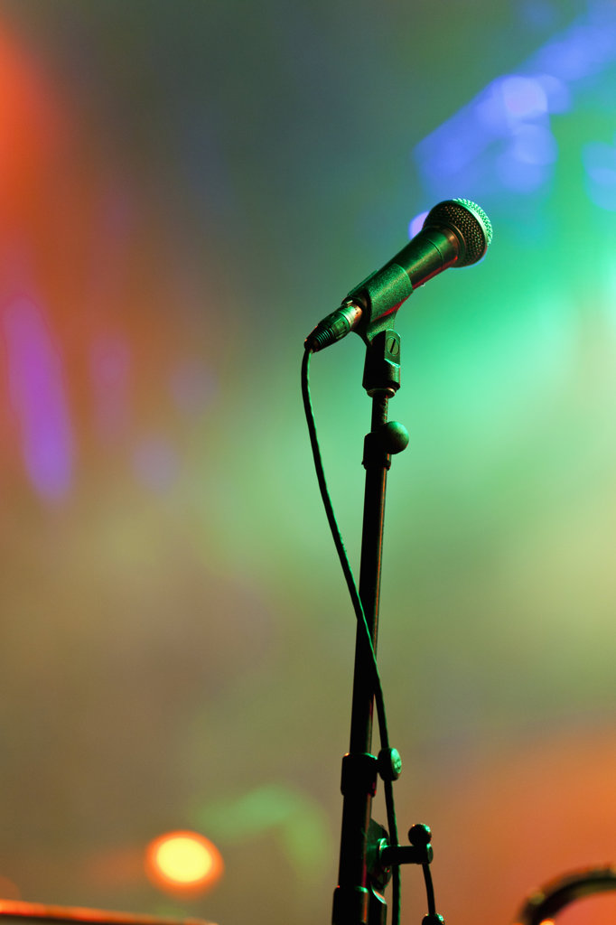 Canada, Quebec, Montreal, Montreal Jazz Festival, Close up of microphone in stage lights : Stock Photo