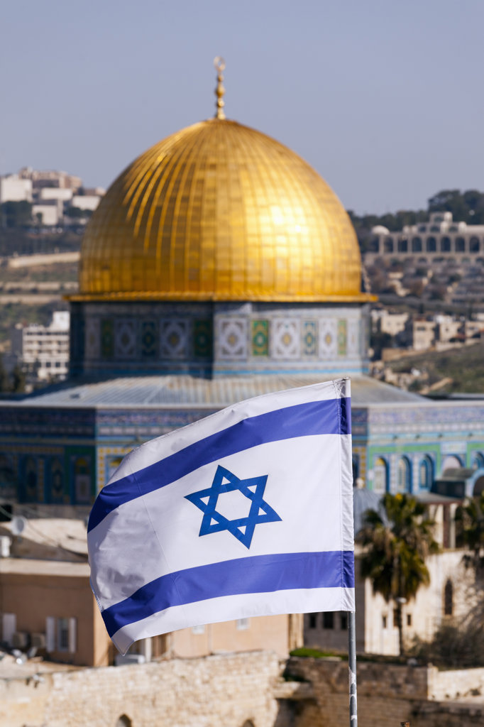 Stock Photo: 4025-278 Israeli Flag in front of the Dome Of The Rock, Temple Mount, Jerusalem, Israel