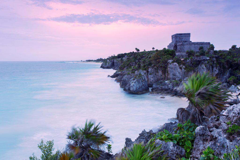 Stock Photo: 4025-328 Mexico , Quintana Roo, Tulum. El Castillo facing Caribbean Sea at dawn
