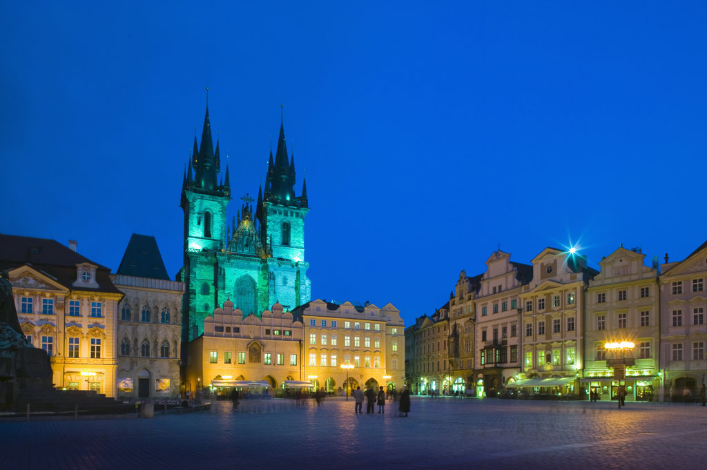 Tyn Church Old Town Square Prague Czech Republic at twilight : Stock Photo