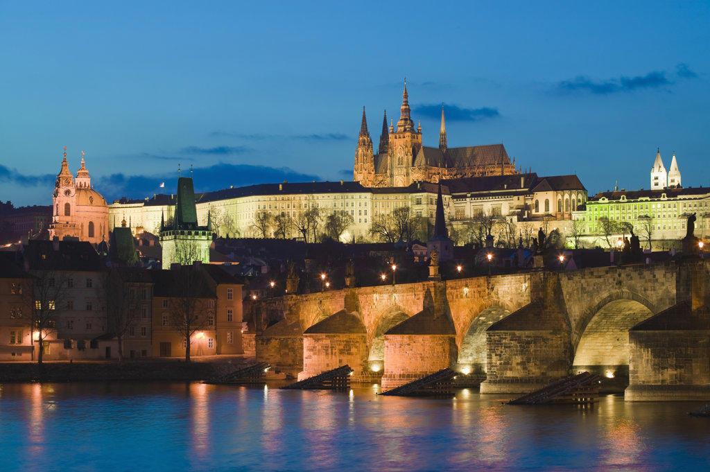 Charles Bridge & Vltava River Prague Czech Republic at twilight : Stock Photo