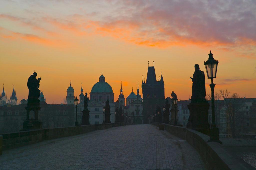 Stock Photo: 4026-115B Charles Bridge Prague Czech Republic at dawn