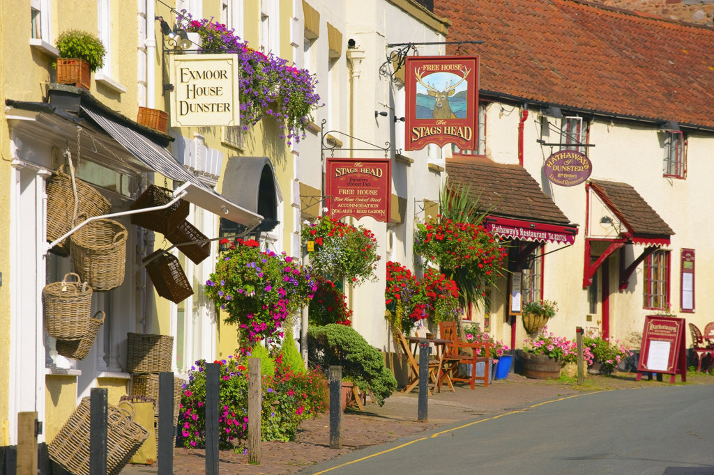 England, Somerset, Exmoor, Dunster, Street in old town : Stock Photo