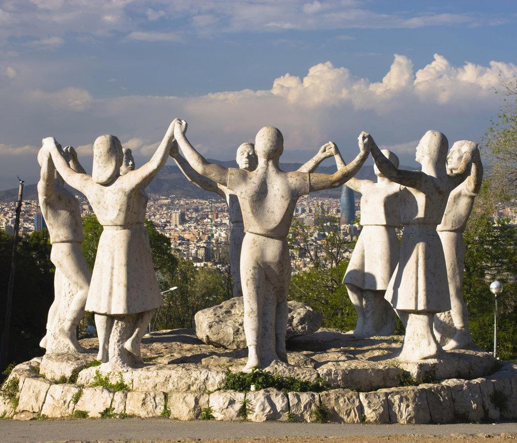 Spain, Catalonia, Barcelona, Sardana statues : Stock Photo