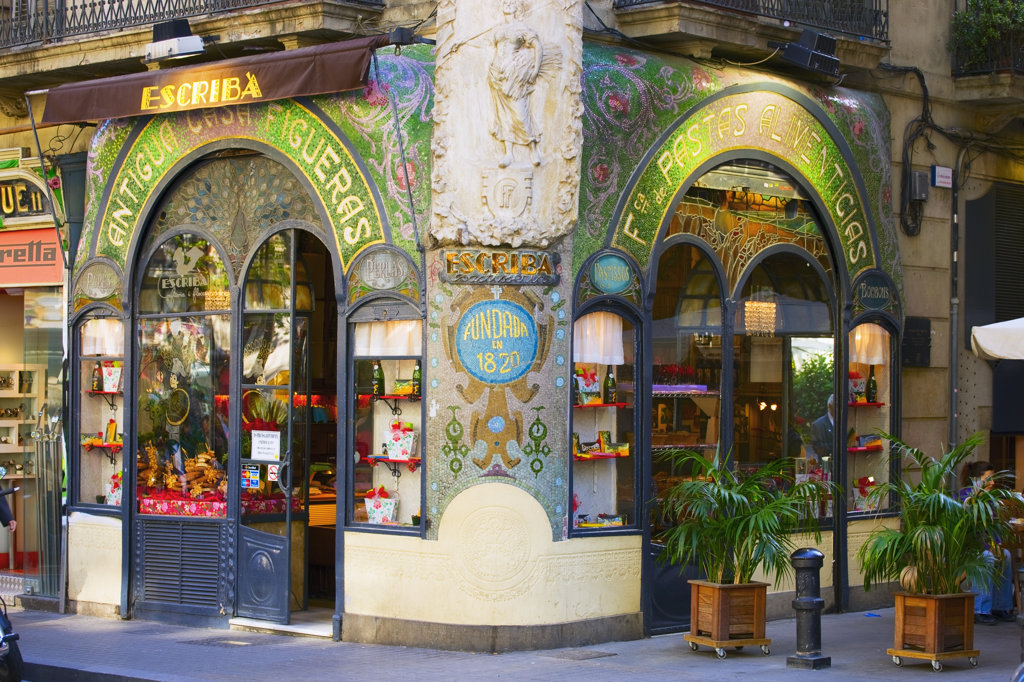 Spain, Catalonia, Barcelona, The Ramblas, Escribas delicatessen and pastry shop : Stock Photo