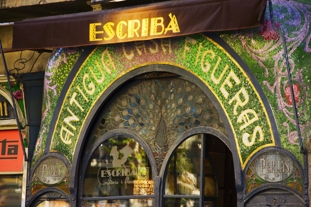 Stock Photo: 4026-220 Spain, Catalonia, Barcelona, The Ramblas, Escribas delicatessen and pastry shop