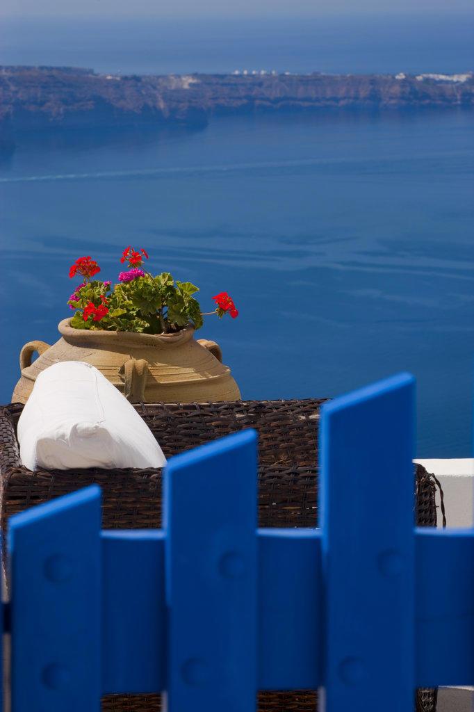 Greece, Cyclades, Santorini Island, Firostefani, Typical view : Stock Photo