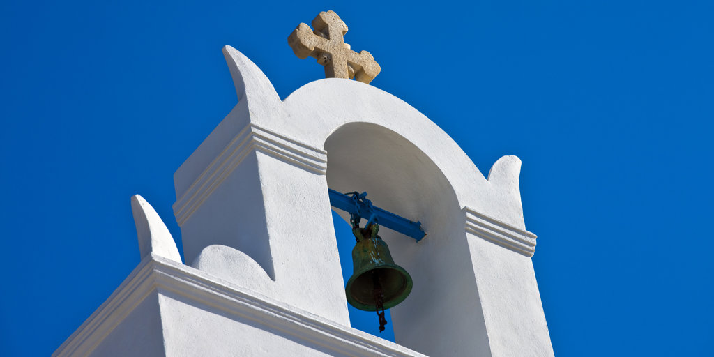 Greece, Cyclades, Santorini Island, Oia, Bell tower : Stock Photo