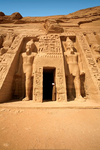 Stock Photo: 4028-1055 Egypt, Abu Simbel, The temple of Hathor and Nefertari, also known as the Smaller Temple.
