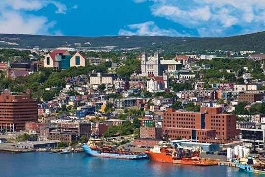 Stock Photo: 4028-1240 St. John´s, Newfoundland, Canada, the coastline of traditional 'Jelly Bean'