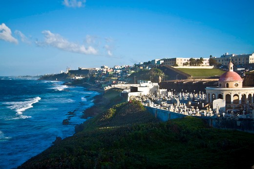 Stock Photo: 4028-1319 Cemetery and La Perla from El Morro fortress. Old San Juan. Puerto Rico.