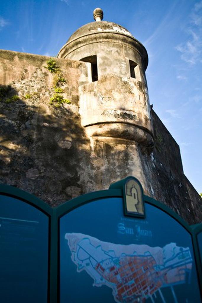 Puerto Rico, San Juan, Fort San Felipe del Morro, Watch tower. : Stock Photo