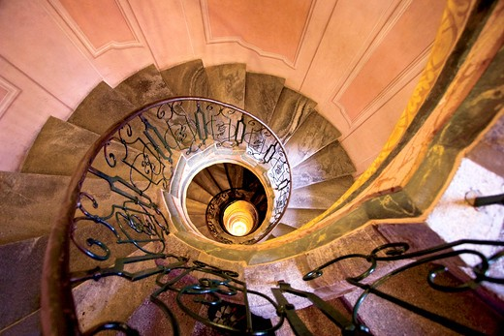 Austria, Melk monastery, baroque spiral staircase down to the Church of the Abbey, Wachau Valley : Stock Photo