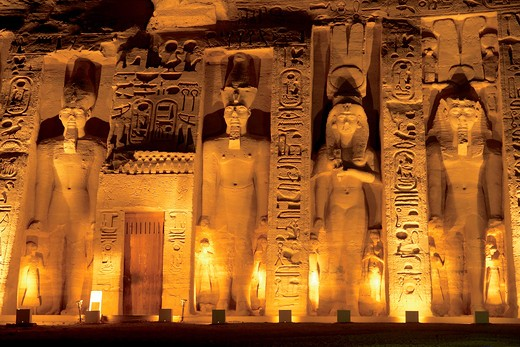 Egypt, Abu Simbel, The temple of Hathor and Nefertari, also known as the Smaller Temple, during the Sound and Light Show. : Stock Photo