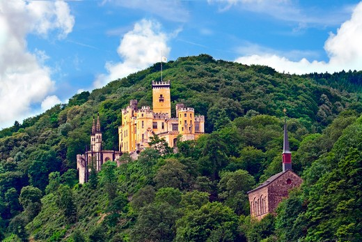 Koblenz, Germany, Stolzenfels Castle, Schloss Stolzenfels and church on the Rhine River, River cruise. : Stock Photo
