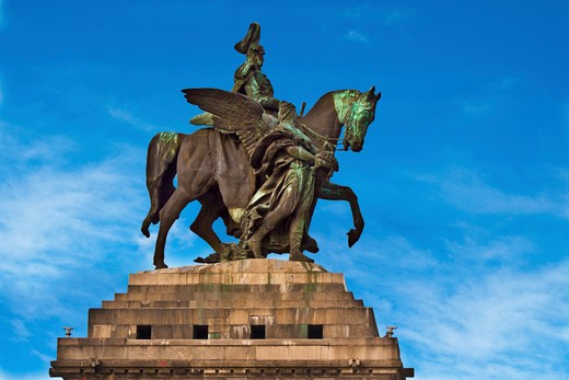 Koblenz, Germany, The Monument at the German Corner, Deutsches Eck, Where the Rhine River meets the Moselle River. The statue on horseback is of German Emperor William I. : Stock Photo