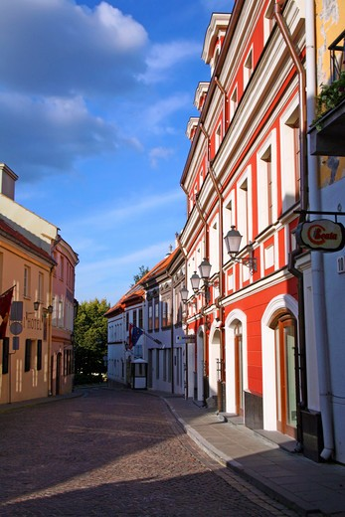 Stock Photo: 4028-1875 Lithuania, Lietuva, Vilnius, Baltic States, A view of historic Pilias Street in Old Town Vilnius