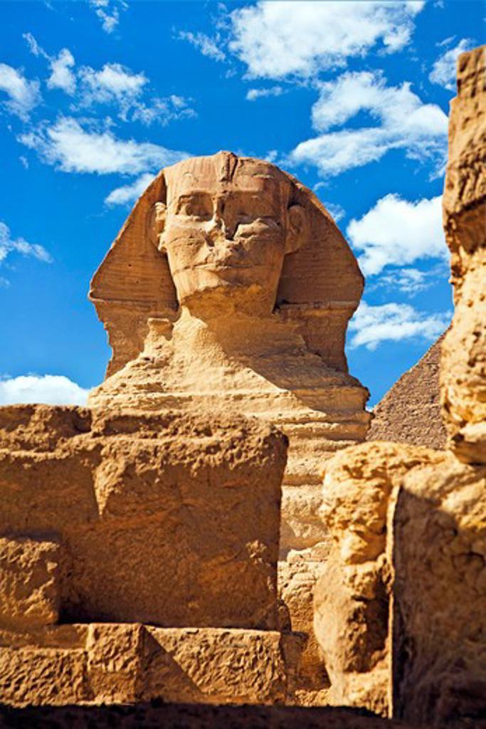 Egypt, Cairo, Giza, The Sphinx and Chefren Pyramid. : Stock Photo