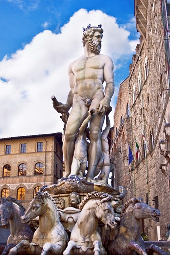 Neptune fountain with sculptures in the sunlight, Piazza della Signoria, Florence, Tuscany, Italy, Europe : Stock Photo