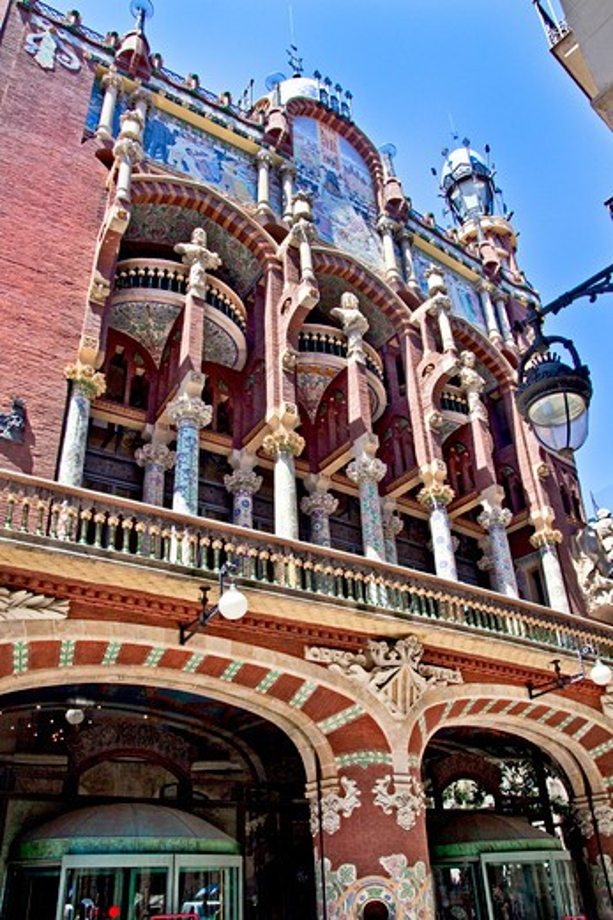 Barcelona, Catalonia, Spain, ornamental facade of Palau de la Musica Catalana, concert hall, by architect Lluis Domenech i Montane : Stock Photo