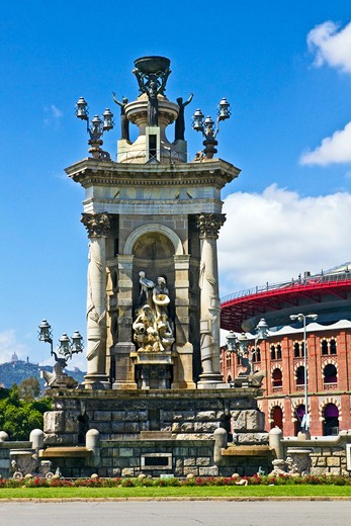 Barcelona, Catalonia, Spain, Monumental Fountain in Plaza de Espana : Stock Photo