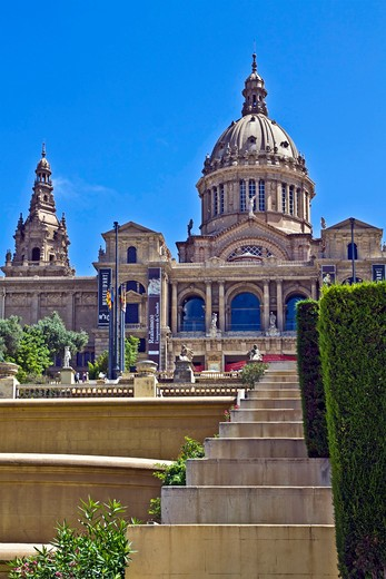 Barcelona, Catalonia, Spain, Palau Nacional, the National Palace of Montjuic : Stock Photo