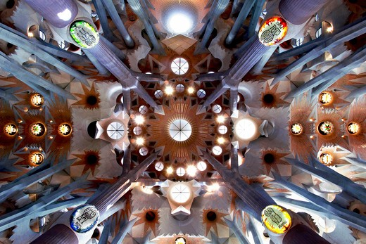 Barcelona, Catalonia, Spain, ornate stained glass window, column and ceiling of the Interior of Sagrada Familia : Stock Photo