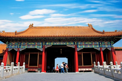 Stock Photo: 4028-2480 China, Beijing, Forbidden City, The Northwest temple of the Hall of Supreme Harmony (TaiHeDian).